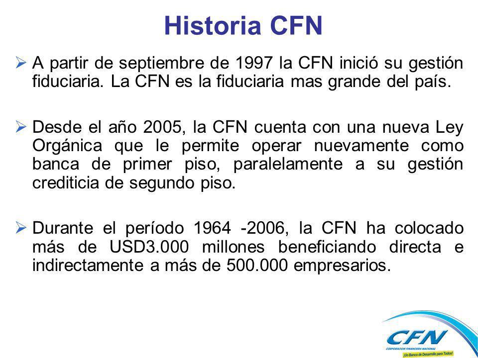 Historia CFN A partir de septiembre de 1997 la CFN inició su gestión fiduciaria. La CFN es la fiduciaria mas grande del país. Desde el año 2005, la CF