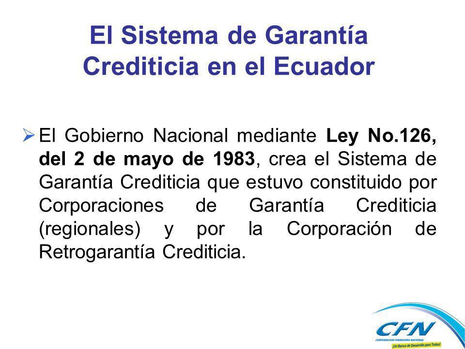El Sistema de Garantía Crediticia en el Ecuador El Gobierno Nacional mediante Ley No.126, del 2 de mayo de 1983, crea el Sistema de Garantía Crediticia que estuvo constituido por Corporaciones de Garantía Crediticia (regionales) y por la Corporación de Retrogarantía Crediticia.