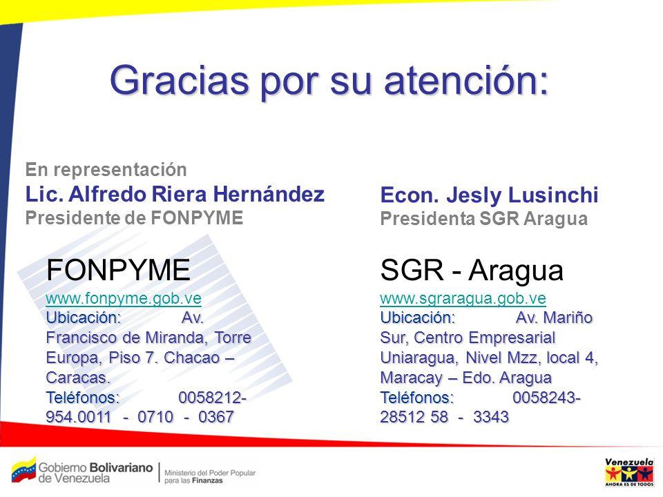 Gracias por su atención: FONPYME www.fonpyme.gob.ve Ubicación: Av. Francisco de Miranda, Torre Europa, Piso 7. Chacao – Caracas. Teléfonos: 0058212- 9