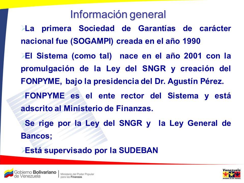 Información general La primera Sociedad de Garantías de carácter nacional fue (SOGAMPI) creada en el año 1990 El Sistema (como tal) nace en el año 200