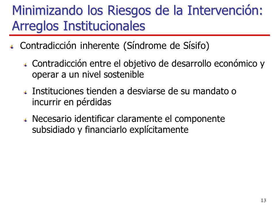 12 Minimizando los Riesgos de la Intervención: Arreglos Institucionales Cualquier tipo de agencia estatal podría implementar nuevas intervenciones Bancos públicos o entidad pública separada del ministerio de finanzas y otros ministerios Bancos de desarrollo o bancos públicos comerciales (Banco Estado) Entidades que no son bancos (Fogape, SHF) Importantes cambios institucionales Redefinen su mandato (NAFIN, FIRA, SHF) Restricciones presupuestarias (FIRA, FOGAPE) Económicamente sustentables (Banco Estado, FOGAPE)
