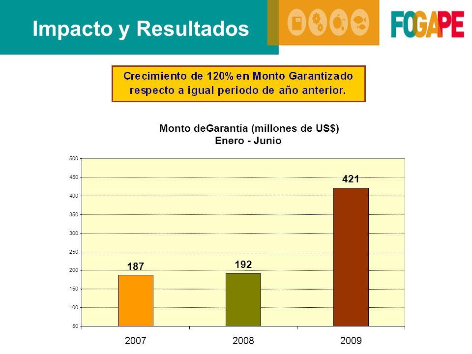 Impacto y Resultados Monto deGarantía (millones de US$) Enero - Junio 187 192 421 50 100 150 200 250 300 350 400 450 500 200720082009