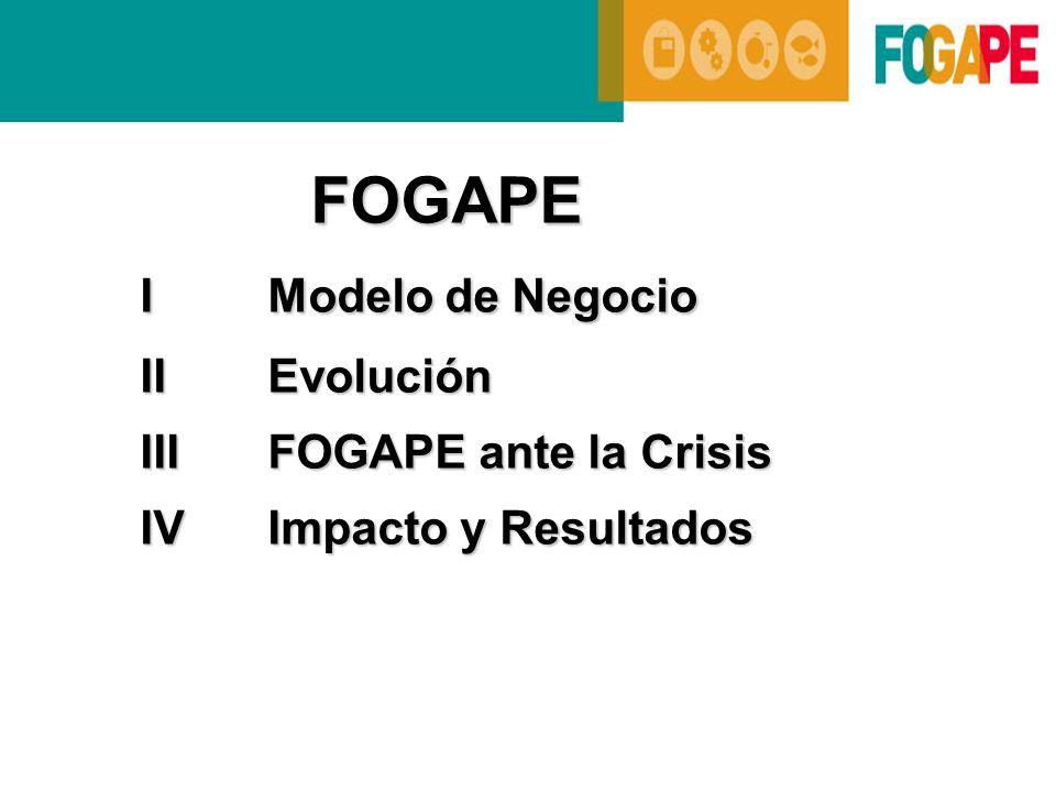 FOGAPE IModelo de Negocio IModelo de Negocio IIEvolución IIIFOGAPE ante la Crisis IVImpacto y Resultados