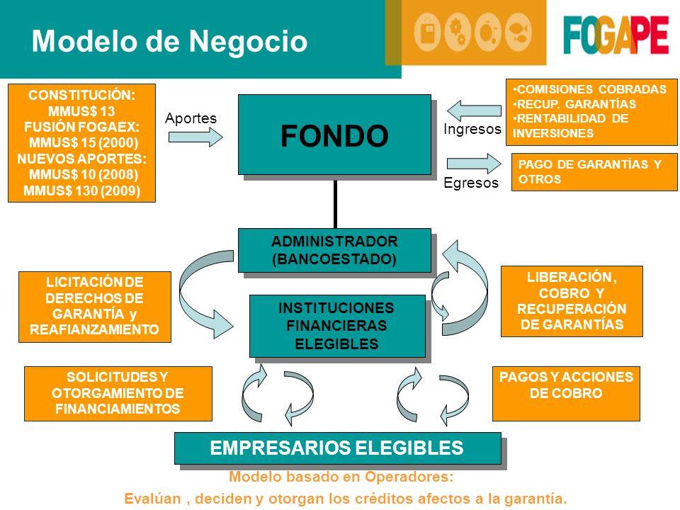 SOLICITUDES Y OTORGAMIENTO DE FINANCIAMIENTOS PAGOS Y ACCIONES DE COBRO Modelo de Negocio ADMINISTRADOR (BANCOESTADO) EMPRESARIOS ELEGIBLES LIBERACIÓN, COBRO Y RECUPERACIÓN DE GARANTÍAS LICITACIÓN DE DERECHOS DE GARANTÍA y REAFIANZAMIENTO Modelo basado en Operadores: Evalúan, deciden y otorgan los créditos afectos a la garantía.