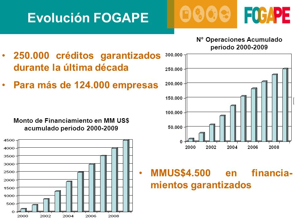 Evolución FOGAPE 250.000 créditos garantizados durante la última década Para más de 124.000 empresas N° Operaciones Acumulado periodo 2000-2009 Monto de Financiamiento en MM US$ acumulado periodo 2000-2009 MMUS$4.500 en financia- mientos garantizados