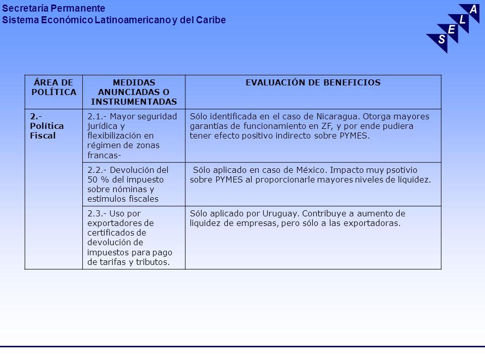 Secretaría Permanente Sistema Económico Latinoamericano y del Caribe ÁREA DE POLÍTICA MEDIDAS ANUNCIADAS O INSTRUMENTADAS EVALUACIÓN DE BENEFICIOS 3.- Políticas Cambiaria y de Comercio Exterior 3.1.- Aumento de aranceles y/o restricción de importaciones Medidas que generan cierto rechazo a nivel internacional.