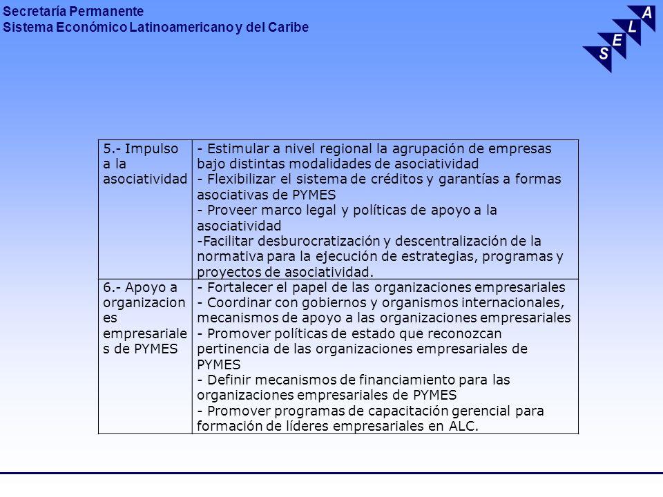 Secretaría Permanente Sistema Económico Latinoamericano y del Caribe Conclusiones 1.- Como consecuencia de la crisis financiera se incrementaron las dificultades para el acceso al crédito y financiamiento de los países y sectores considerados más débiles y vulnerables, como las PYMES.