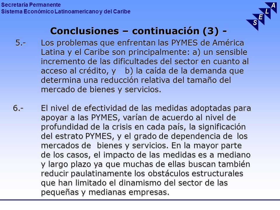 Secretaría Permanente Sistema Económico Latinoamericano y del Caribe Conclusiones – continuación (4) - Conclusiones – continuación (4) - 7.- El SELA aporta un conjunto de propuestas de medidas de políticas públicas para apoyar a las PYMES de la región.