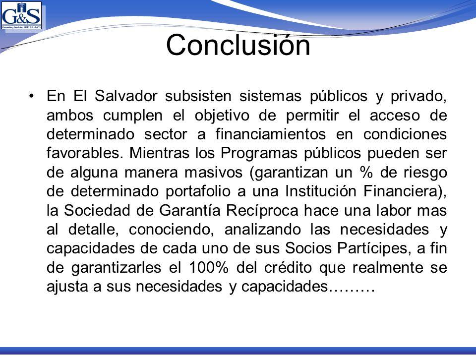 Conclusión En El Salvador subsisten sistemas públicos y privado, ambos cumplen el objetivo de permitir el acceso de determinado sector a financiamient