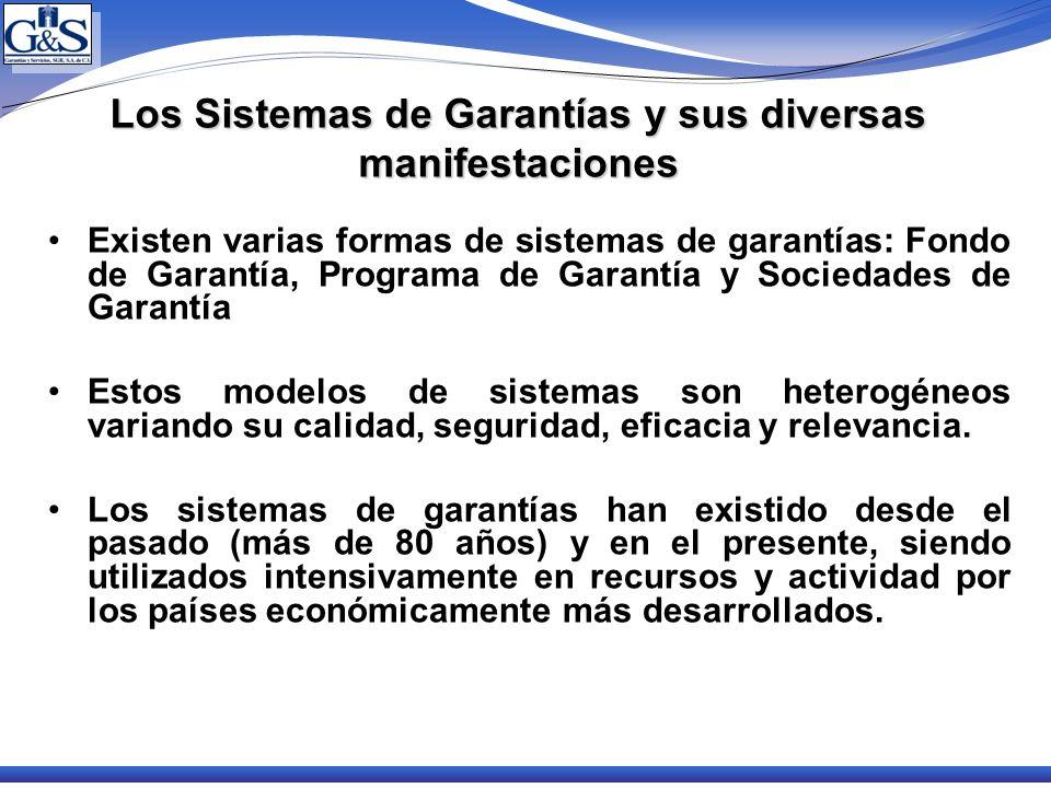 Los Sistemas de Garantías y sus diversas manifestaciones Existen varias formas de sistemas de garantías: Fondo de Garantía, Programa de Garantía y Soc
