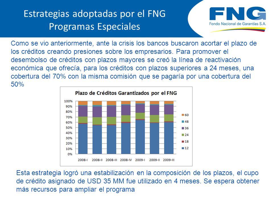Estrategias adoptadas por el FNG Programas Especiales Como se vio anteriormente, ante la crisis los bancos buscaron acortar el plazo de los créditos creando presiones sobre los empresarios.