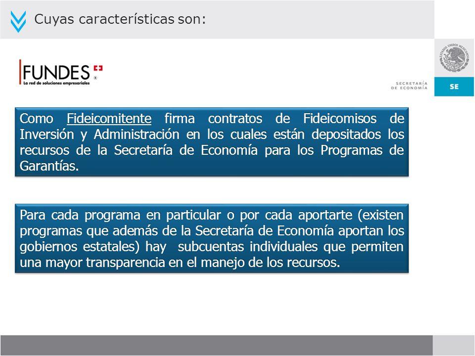 Cuyas características son: Como Fideicomitente firma contratos de Fideicomisos de Inversión y Administración en los cuales están depositados los recur