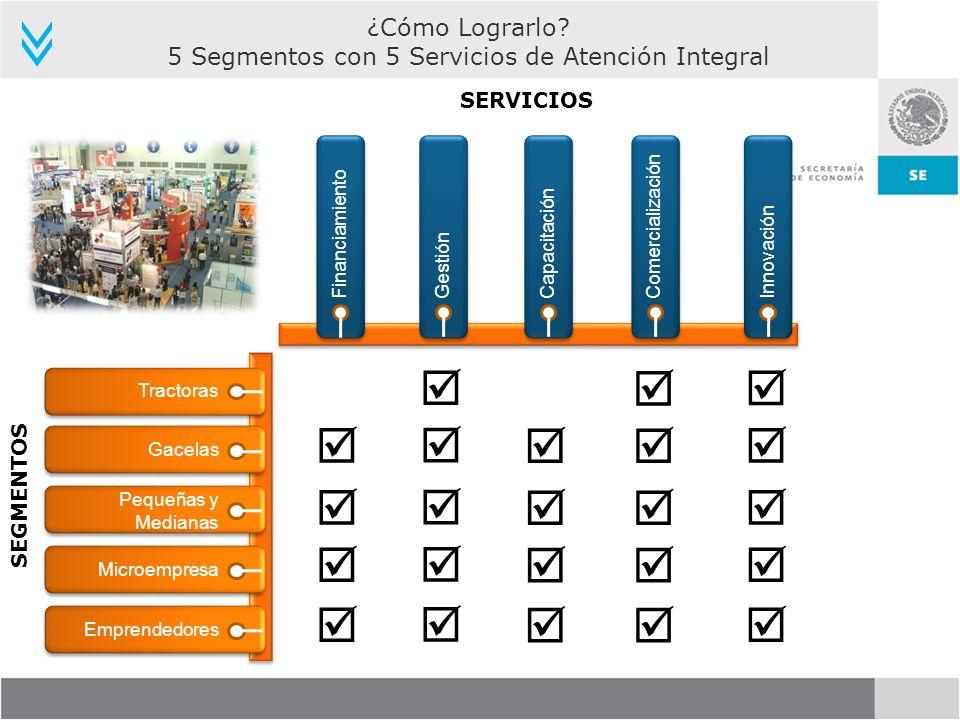 SERVICIOS Financiamiento SEGMENTOS ¿Cómo Lograrlo? 5 Segmentos con 5 Servicios de Atención Integral GestiónCapacitaciónComercializaciónInnovación Trac