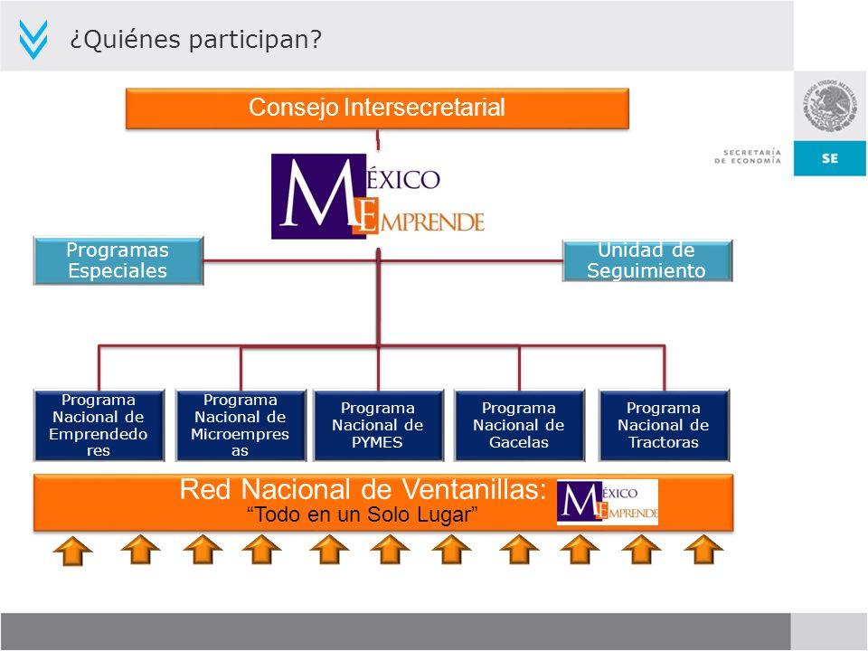 ¿Quiénes participan? Programas Especiales Unidad de Seguimiento Consejo Intersecretarial Programa Nacional de Emprendedo res Programa Nacional de Micr