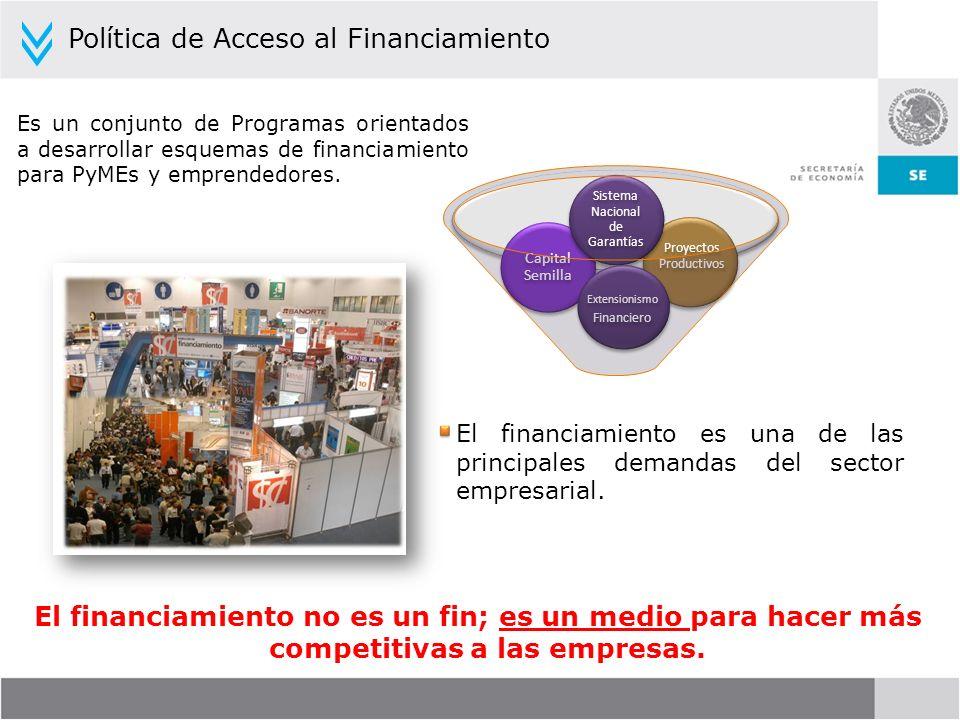 Política de Acceso al Financiamiento Es un conjunto de Programas orientados a desarrollar esquemas de financiamiento para PyMEs y emprendedores. El fi