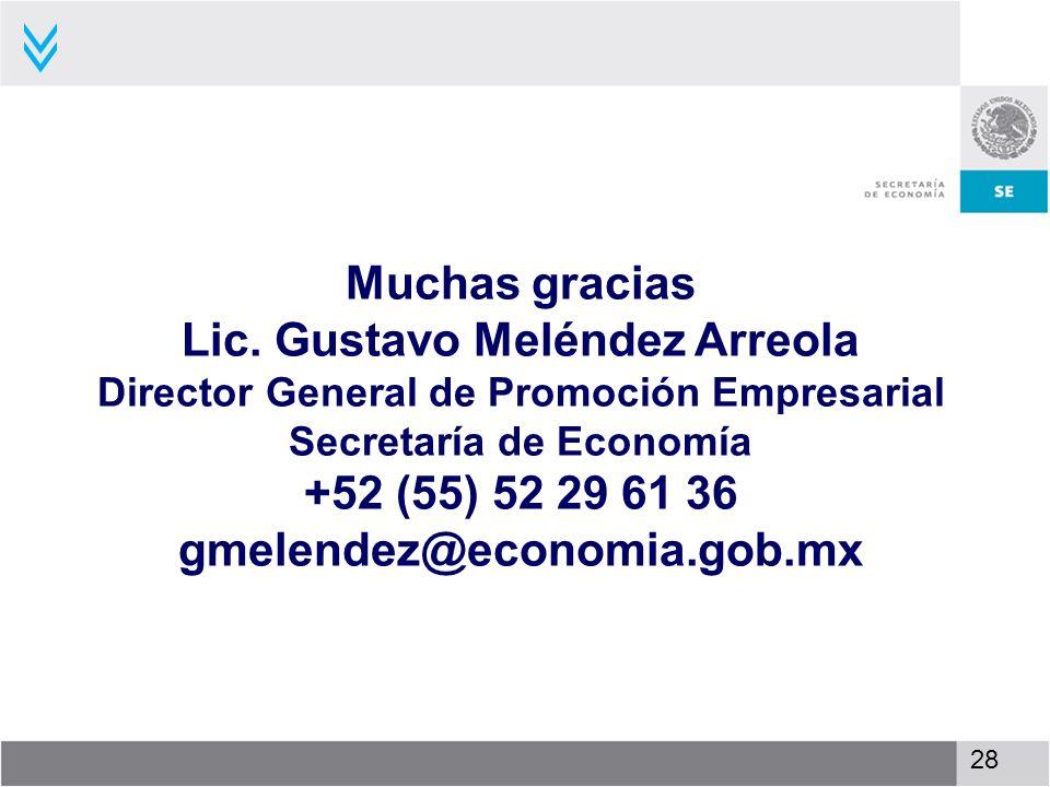 Muchas gracias Lic. Gustavo Meléndez Arreola Director General de Promoción Empresarial Secretaría de Economía +52 (55) 52 29 61 36 gmelendez@economia.