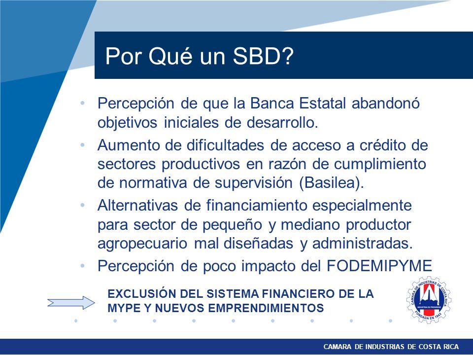 CAMARA DE INDUSTRIAS DE COSTA RICA Por Qué un SBD? Percepción de que la Banca Estatal abandonó objetivos iniciales de desarrollo. Aumento de dificulta