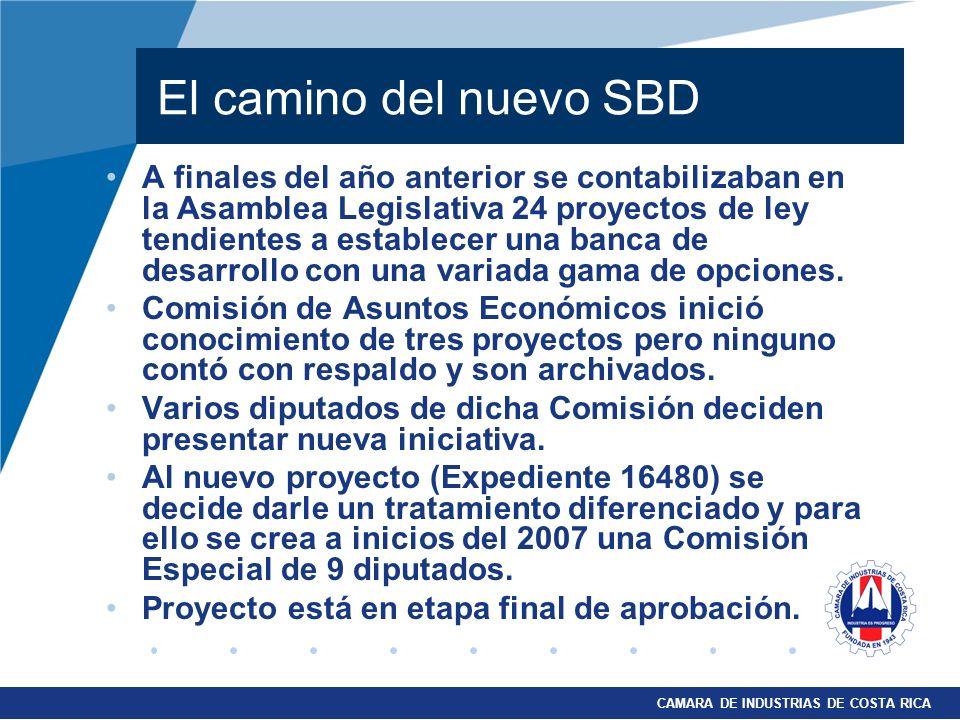 CAMARA DE INDUSTRIAS DE COSTA RICA El camino del nuevo SBD A finales del año anterior se contabilizaban en la Asamblea Legislativa 24 proyectos de ley