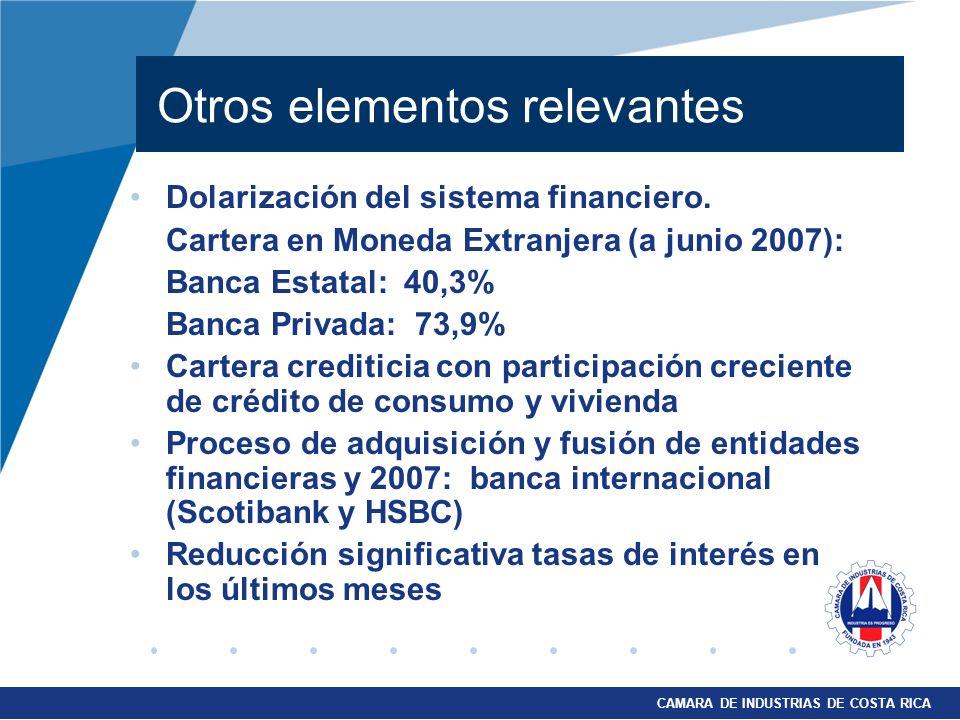Otros elementos relevantes Dolarización del sistema financiero. Cartera en Moneda Extranjera (a junio 2007): Banca Estatal: 40,3% Banca Privada: 73,9%