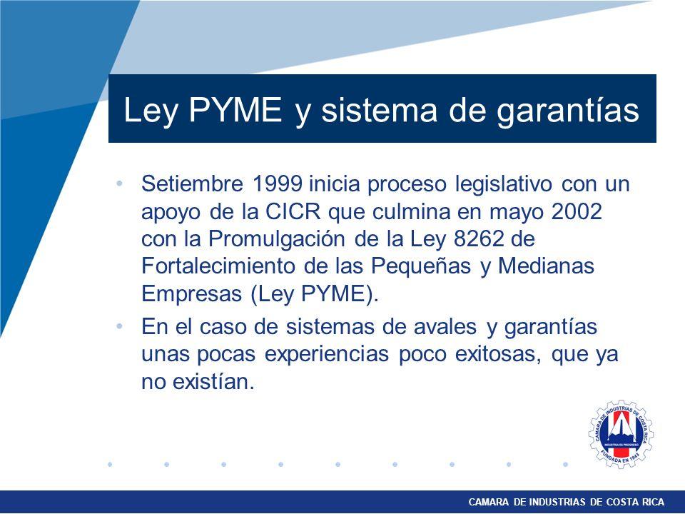 CAMARA DE INDUSTRIAS DE COSTA RICA Ley PYME y sistema de garantías Setiembre 1999 inicia proceso legislativo con un apoyo de la CICR que culmina en ma