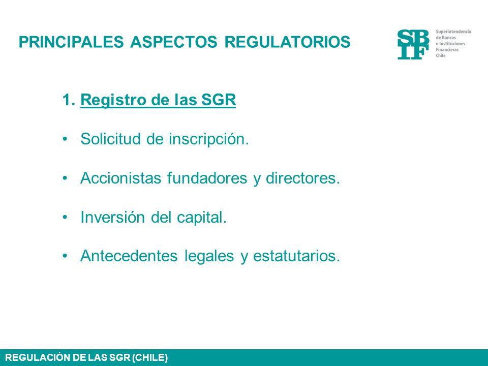PRINCIPALES ASPECTOS REGULATORIOS 1.Registro de las SGR Solicitud de inscripción. Accionistas fundadores y directores. Inversión del capital. Antecede