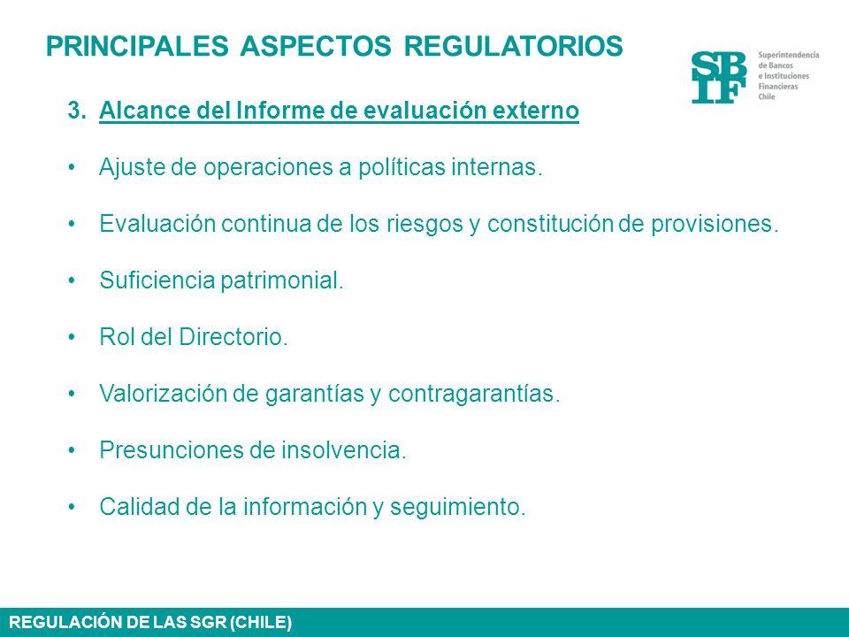 PRINCIPALES ASPECTOS REGULATORIOS 3.Alcance del Informe de evaluación externo Ajuste de operaciones a políticas internas. Evaluación continua de los r