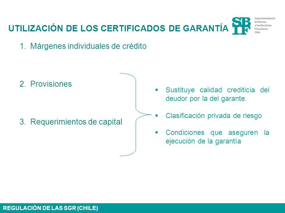 1.Márgenes individuales de crédito 2.Provisiones 3.Requerimientos de capital UTILIZACIÓN DE LOS CERTIFICADOS DE GARANTÍA REGULACIÓN DE LAS SGR (CHILE)