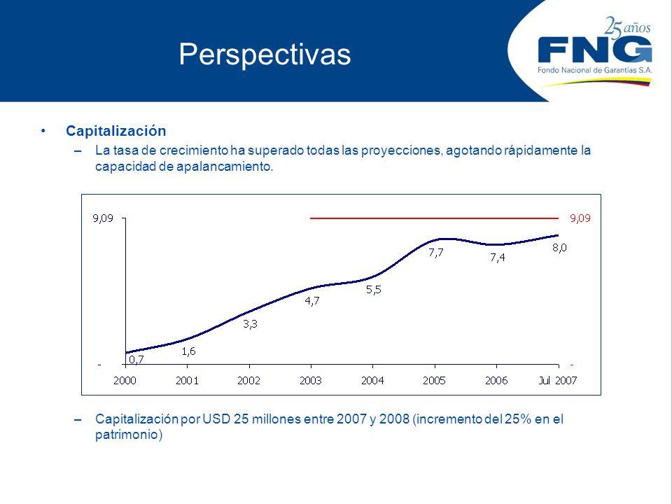 Perspectivas Capitalización –La tasa de crecimiento ha superado todas las proyecciones, agotando rápidamente la capacidad de apalancamiento. –Capitali