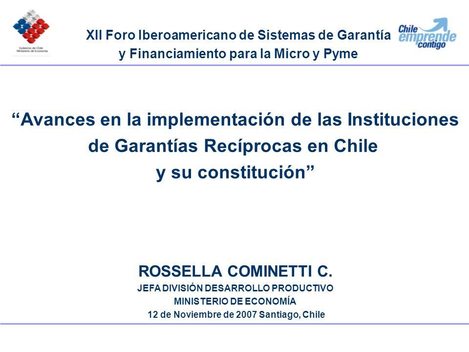 Avances en la implementación de las Instituciones de Garantías Recíprocas en Chile y su constitución ROSSELLA COMINETTI C. JEFA DIVISIÓN DESARROLLO PR
