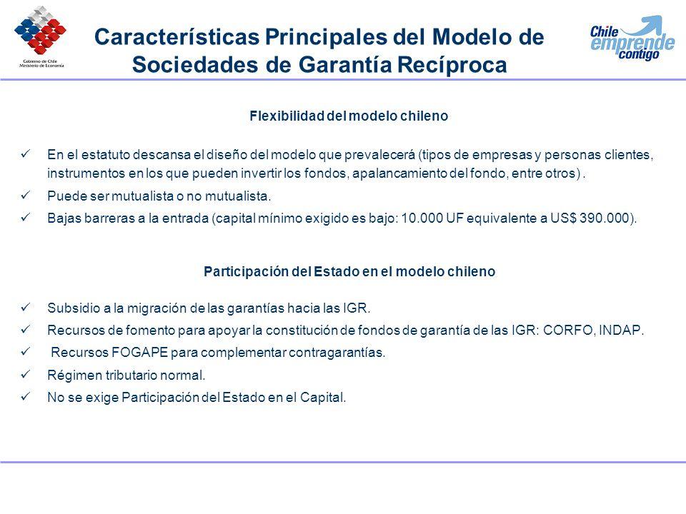 Flexibilidad del modelo chileno En el estatuto descansa el diseño del modelo que prevalecerá (tipos de empresas y personas clientes, instrumentos en l