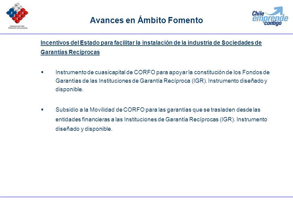 Avances en Ámbito Fomento Incentivos del Estado para facilitar la instalación de la industria de Sociedades de Garantías Recíprocas Instrumento de cua