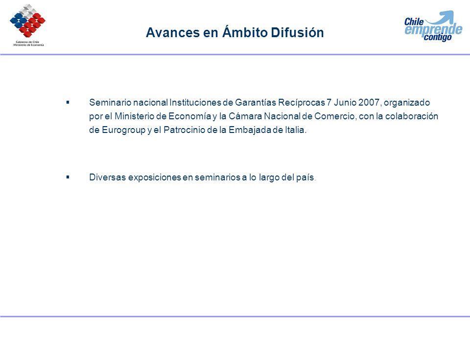 Avances en Ámbito Difusión Seminario nacional Instituciones de Garantías Recíprocas 7 Junio 2007, organizado por el Ministerio de Economía y la Cámara