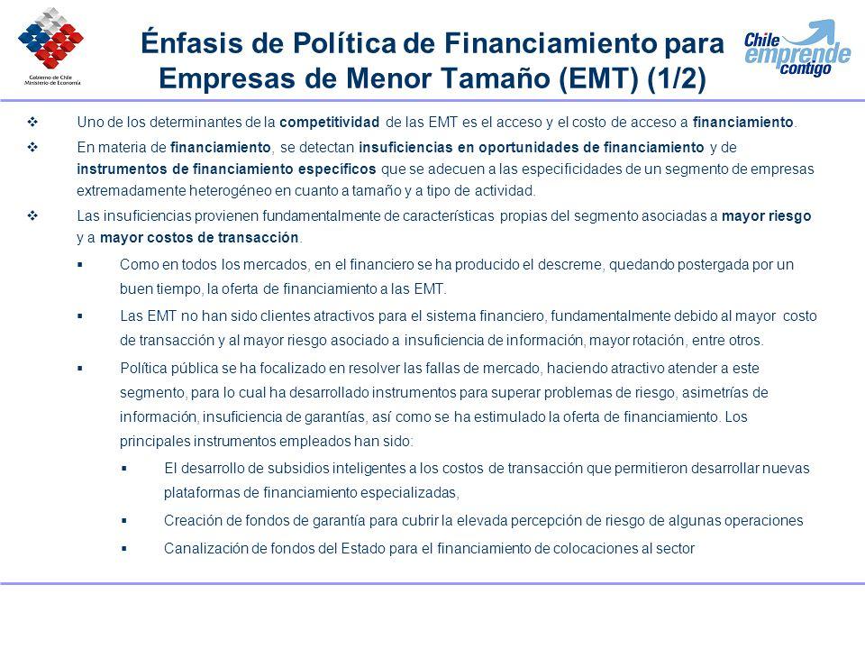Énfasis de Política de Financiamiento para Empresas de Menor Tamaño (EMT) (1/2) Uno de los determinantes de la competitividad de las EMT es el acceso