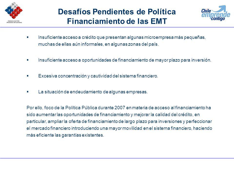 Nuevas Acciones en Apoyo al Financiamiento de EMT Foco especial en el Compromiso Chile Emprende Contigo anunciado en mayo 2007: 1.Más recursos para acceso a financiamiento: Solamente en 2007 se inyectaron recursos al sistema financiero por US$ 900 millones.