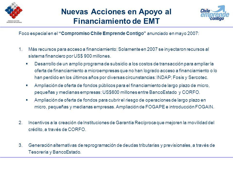 Nuevas Acciones en Apoyo al Financiamiento de EMT Foco especial en el Compromiso Chile Emprende Contigo anunciado en mayo 2007: 1.Más recursos para ac