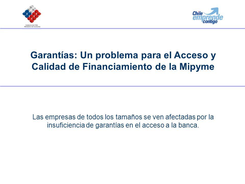 Garantías: Un problema para el Acceso y Calidad de Financiamiento de la Mipyme Las empresas de todos los tamaños se ven afectadas por la insuficiencia