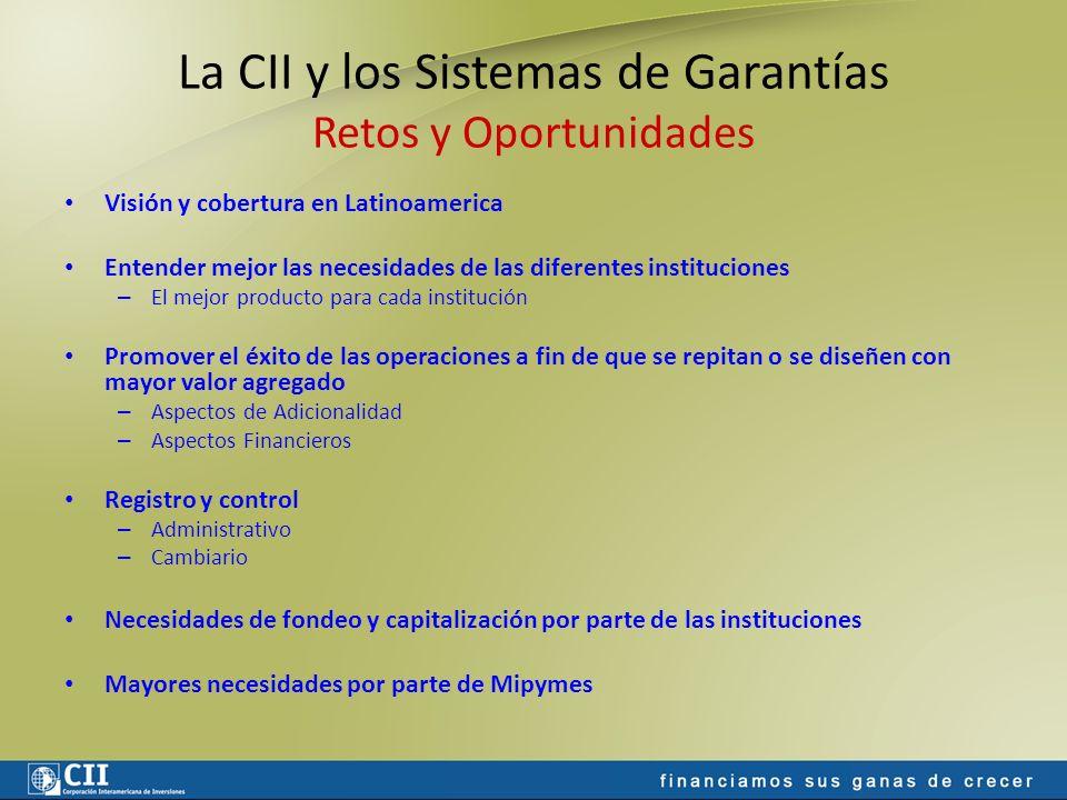 La CII y los Sistemas de Garantías Retos y Oportunidades Visión y cobertura en Latinoamerica Entender mejor las necesidades de las diferentes instituc