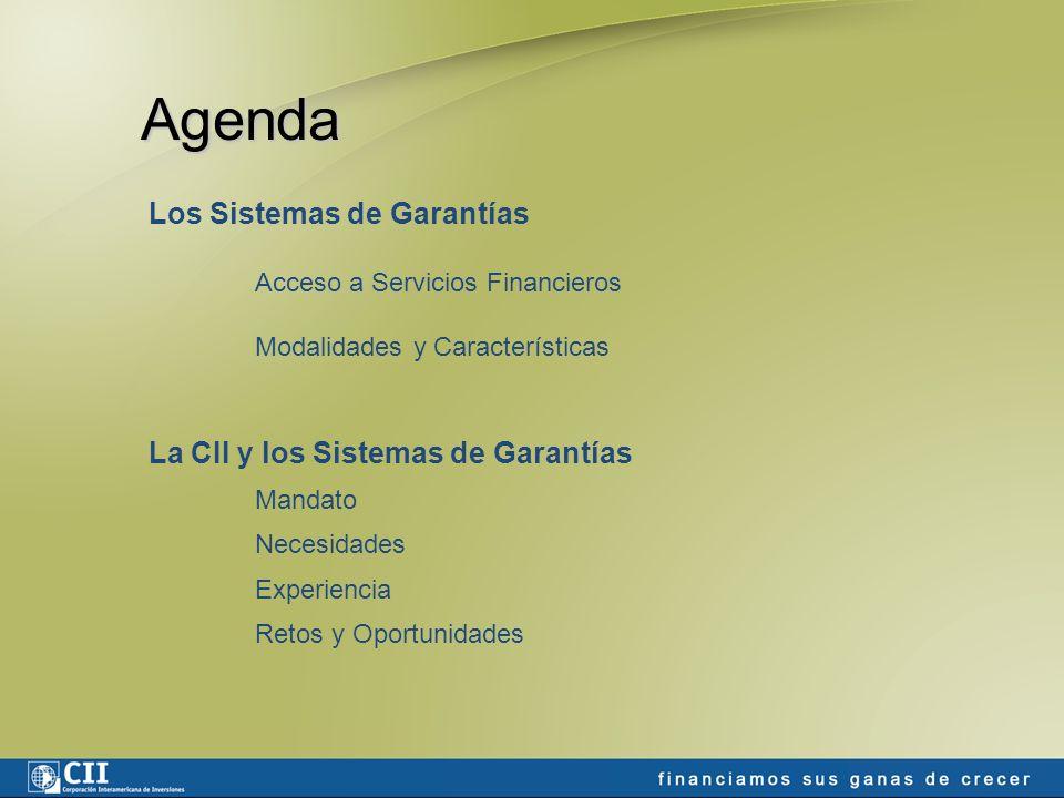 Agenda Los Sistemas de Garantías Acceso a Servicios Financieros Modalidades y Características La CII y los Sistemas de Garantías Mandato Necesidades Experiencia Retos y Oportunidades