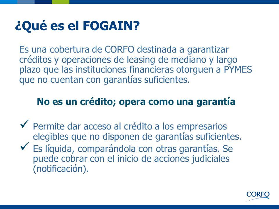 ¿Qué es el FOGAIN? Es una cobertura de CORFO destinada a garantizar créditos y operaciones de leasing de mediano y largo plazo que las instituciones f