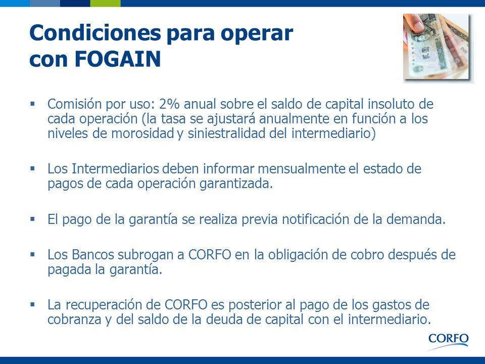 Condiciones para operar con FOGAIN Comisión por uso: 2% anual sobre el saldo de capital insoluto de cada operación (la tasa se ajustará anualmente en