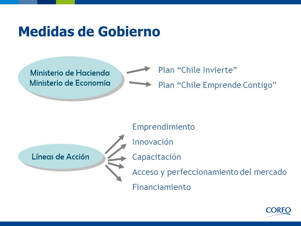 Medidas de Gobierno Plan Chile Invierte Plan Chile Emprende Contigo Emprendimiento Innovación Capacitación Acceso y perfeccionamiento del mercado Fina
