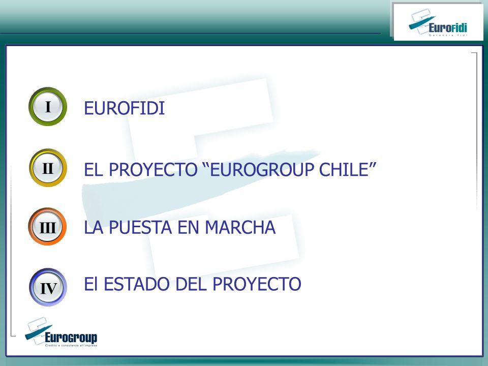 I II IIIIV EUROFIDI LA PUESTA EN MARCHA El ESTADO DEL PROYECTO EL PROYECTO EUROGROUP CHILE