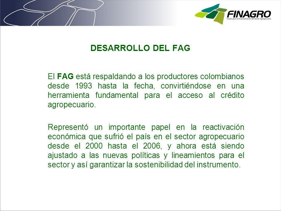 DESARROLLO DEL FAG El FAG está respaldando a los productores colombianos desde 1993 hasta la fecha, convirtiéndose en una herramienta fundamental para