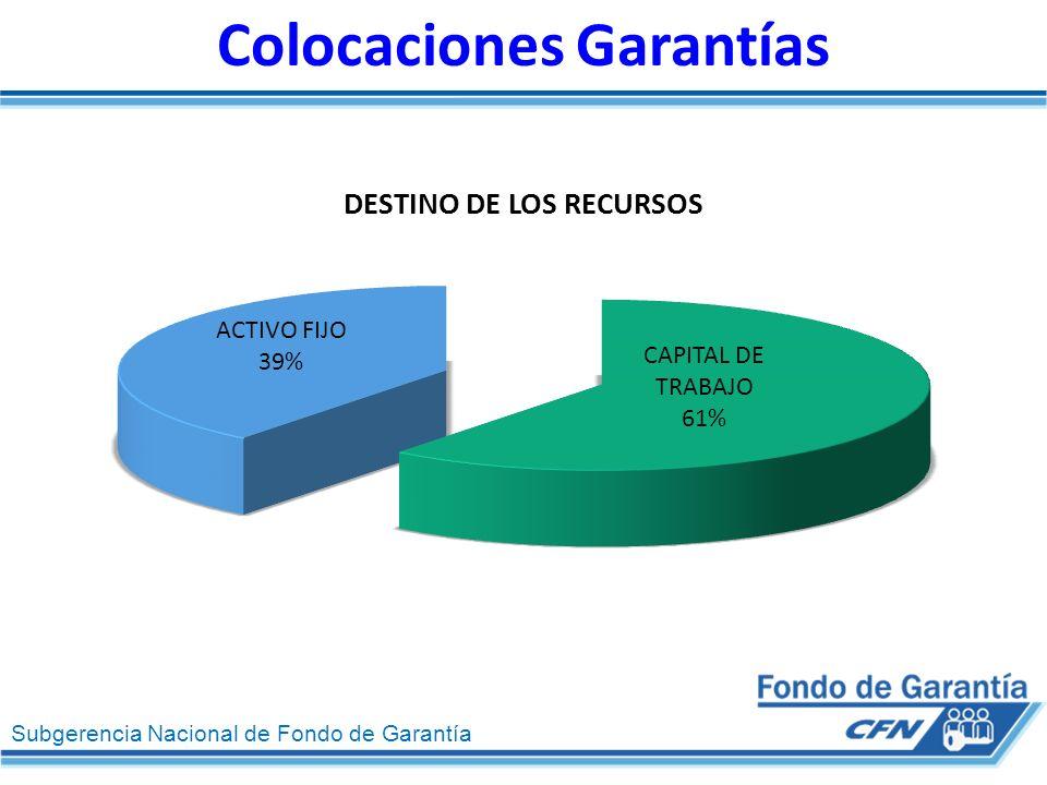 Subgerencia Nacional de Fondo de Garantía Colocaciones Garantías