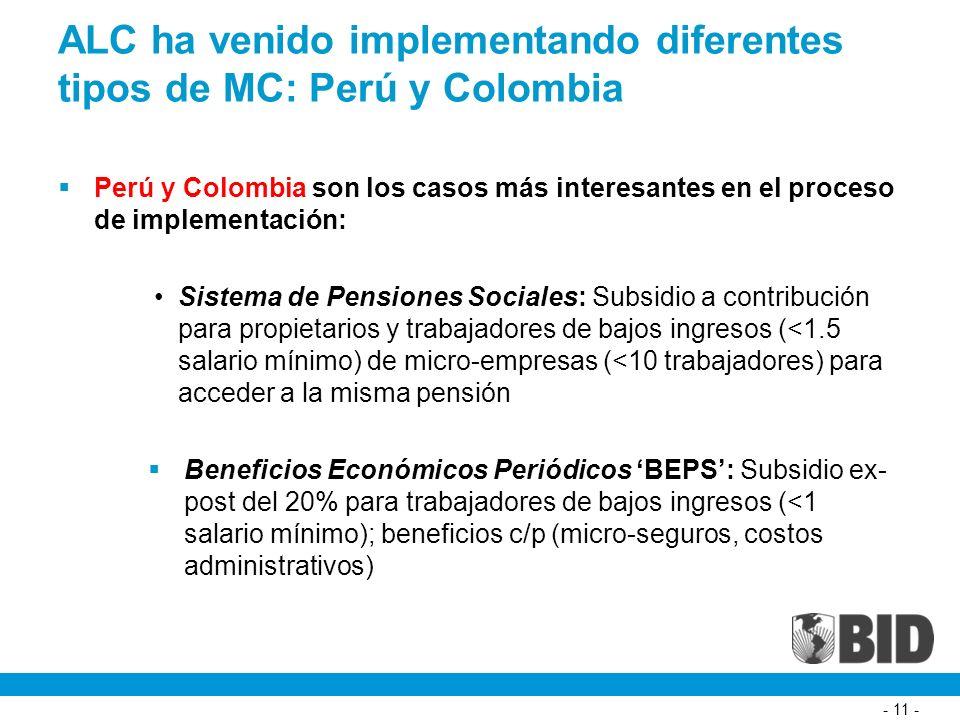 - 11 - ALC ha venido implementando diferentes tipos de MC: Perú y Colombia Perú y Colombia son los casos más interesantes en el proceso de implementación: Sistema de Pensiones Sociales: Subsidio a contribución para propietarios y trabajadores de bajos ingresos (<1.5 salario mínimo) de micro-empresas (<10 trabajadores) para acceder a la misma pensión Beneficios Económicos Periódicos BEPS: Subsidio ex- post del 20% para trabajadores de bajos ingresos (<1 salario mínimo); beneficios c/p (micro-seguros, costos administrativos)
