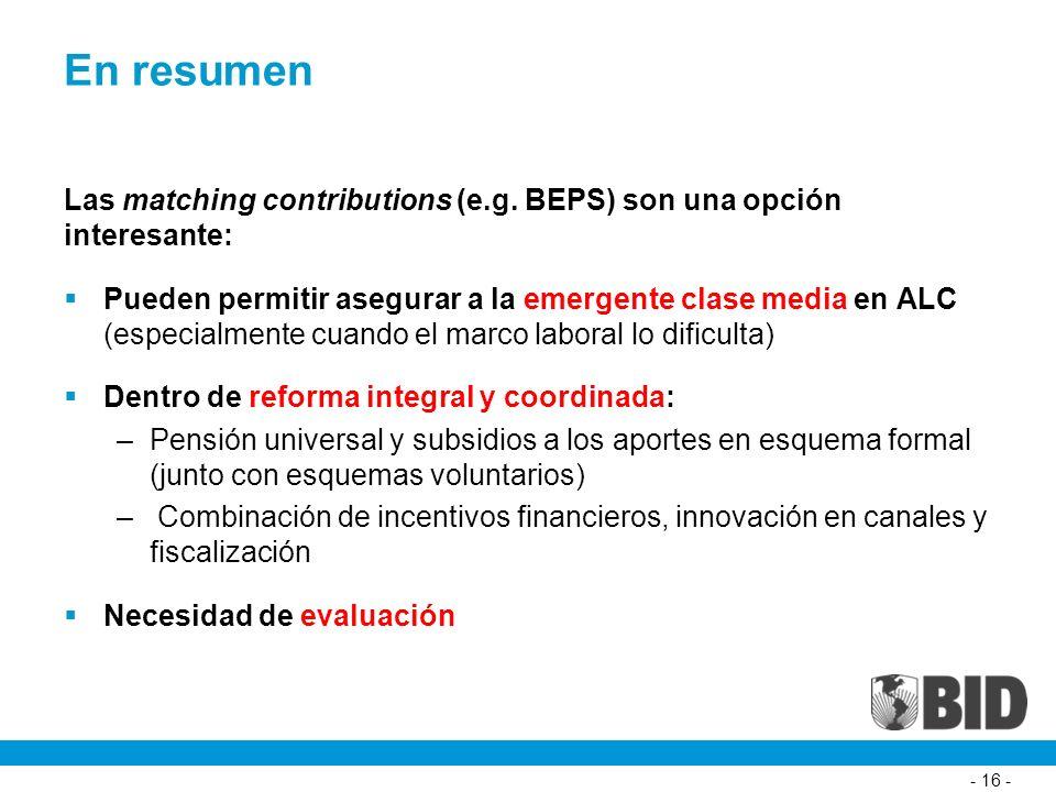 - 16 - En resumen Las matching contributions (e.g.