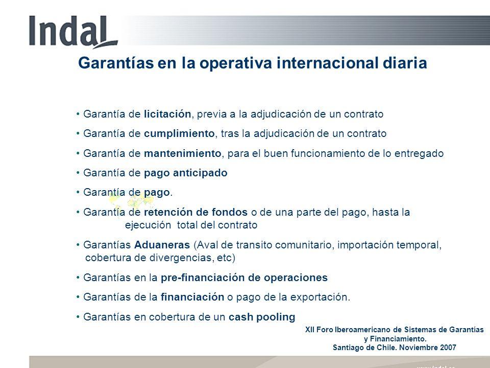 Garantías en la operativa internacional diaria XII Foro Iberoamericano de Sistemas de Garantías y Financiamiento. Santiago de Chile. Noviembre 2007 Ga