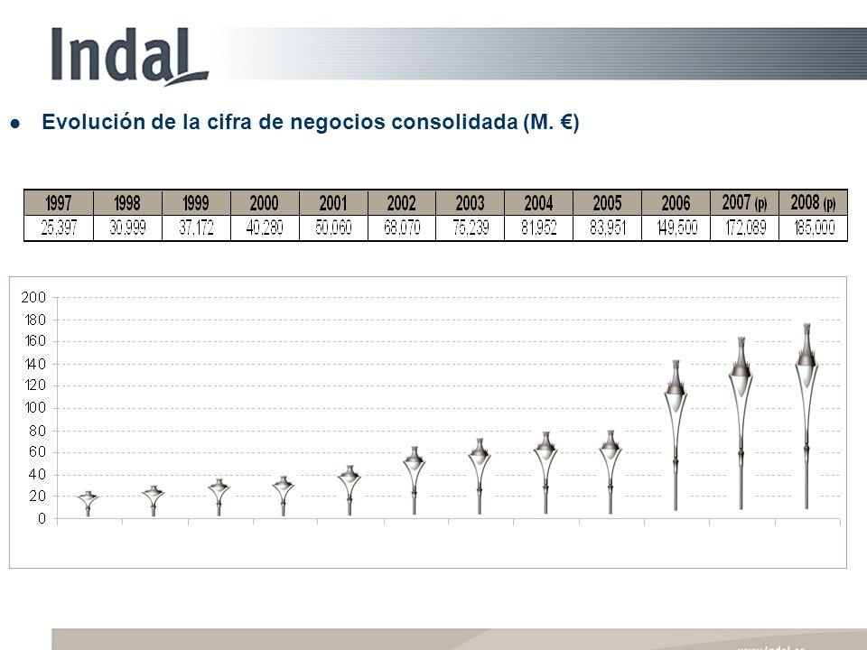 Evolución de la cifra de negocios consolidada (M. )