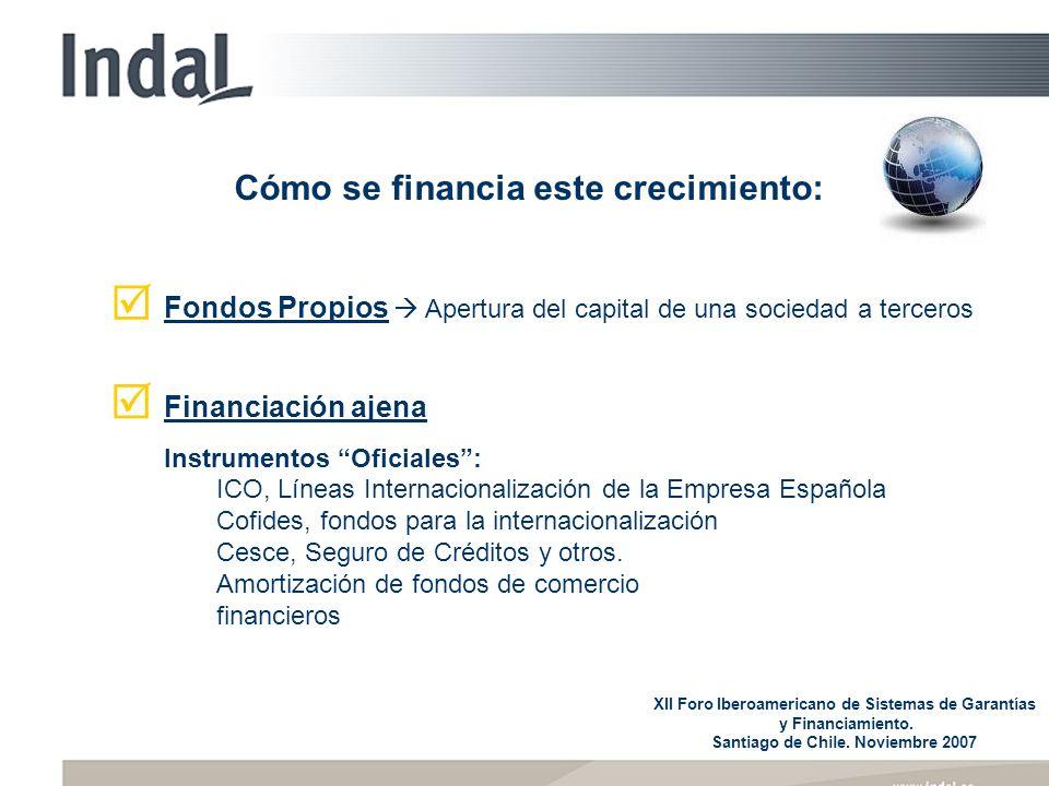 Cómo se financia este crecimiento: Fondos Propios Apertura del capital de una sociedad a terceros Financiación ajena Instrumentos Oficiales: ICO, Líneas Internacionalización de la Empresa Española Cofides, fondos para la internacionalización Cesce, Seguro de Créditos y otros.