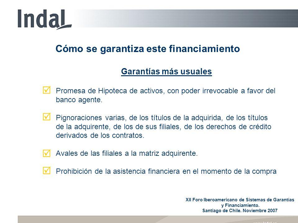 Cómo se garantiza este financiamiento Garantías más usuales Promesa de Hipoteca de activos, con poder irrevocable a favor del banco agente. Pignoracio